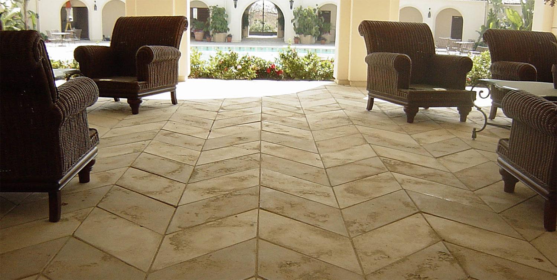 Limestone Floor With Chevron Pattern