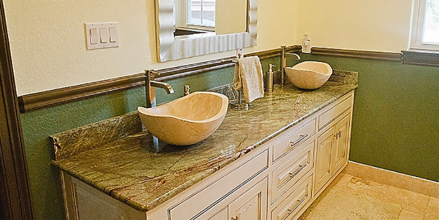 Bathroom With Double Travertine Vessel Sinks